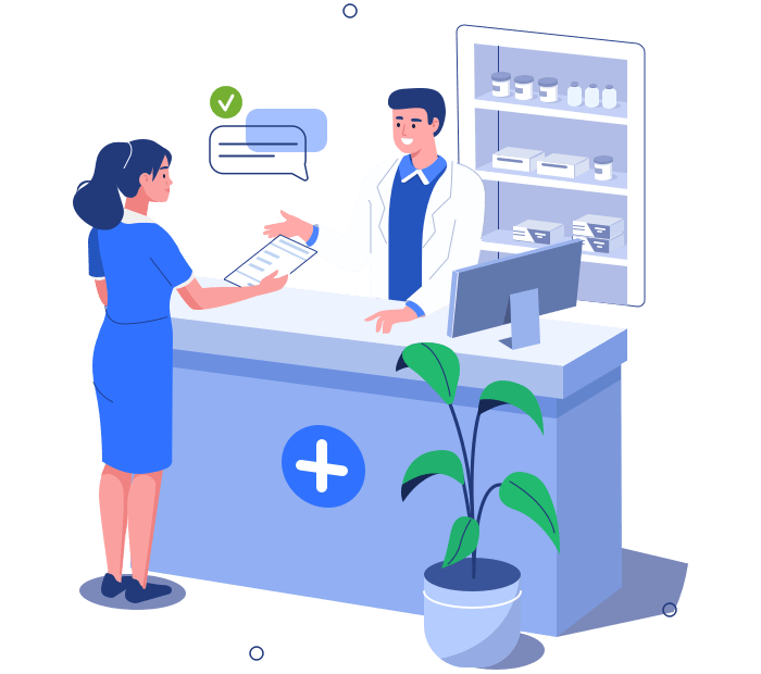 Illustration of a woman receiving her prescription.