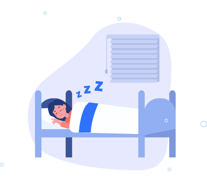 Illustration of a woman peacefully sleeping in her bed.
