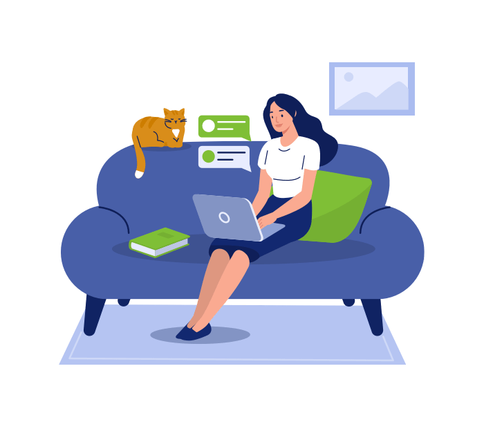 Illustration of a woman sitting on her couch using her computer.